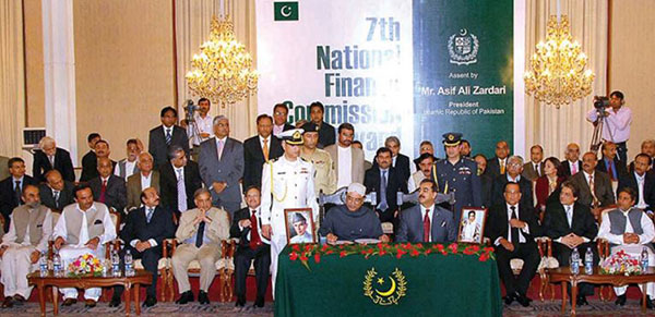 President Asif Ali Zardari signs the 7th National Finance Commission Award