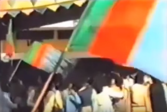 Till 1977, blue dominated JI's flag. It was replaced with green and the first kalima after 1979.