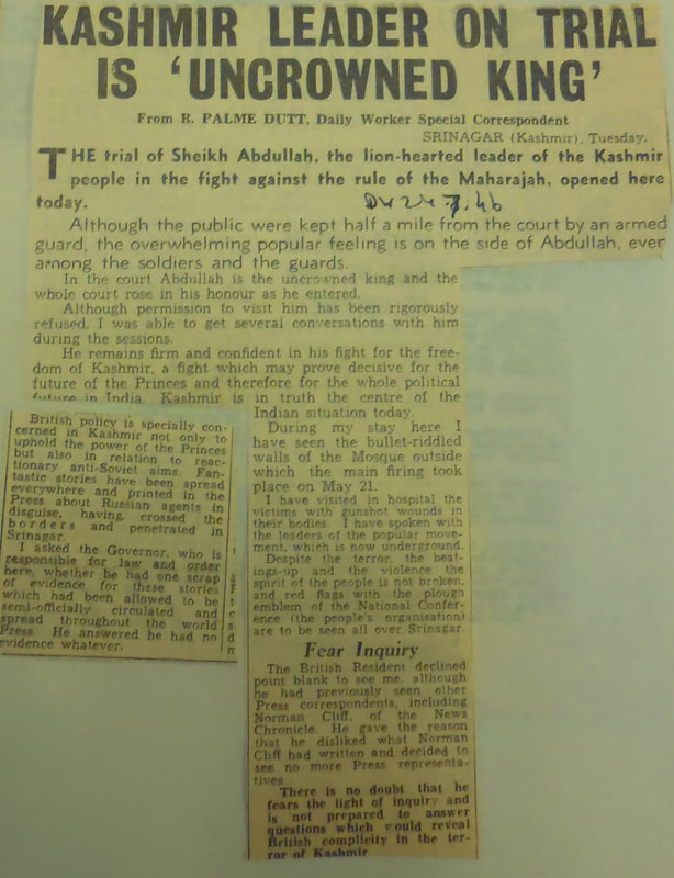 In 1946 Sheikh Abdullah was arrested when his National Conference launched a movement against the Maharaja of J&K.