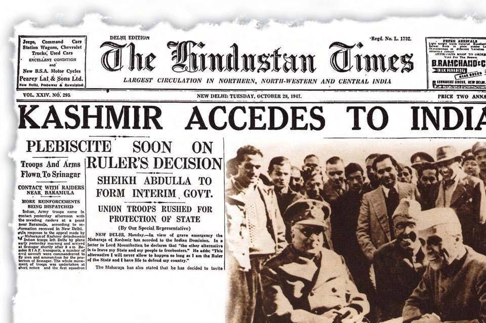 On October 27, 1947, facing a rebellion in Poonch and attack by Pakistan-based tribal militias, the Maharaja acceded Kashmir to India.