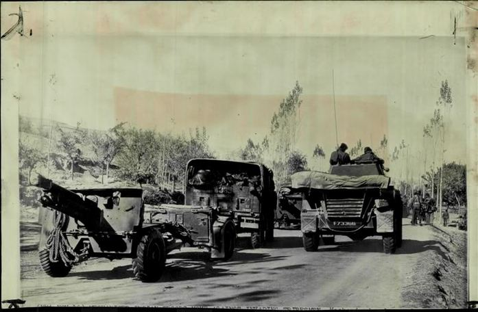 Indian troops moving into Kashmir on the Maharaja's request.