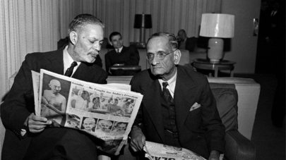Pakistani and Indian representatives at the UN in early 1948 to discuss Kashmir.