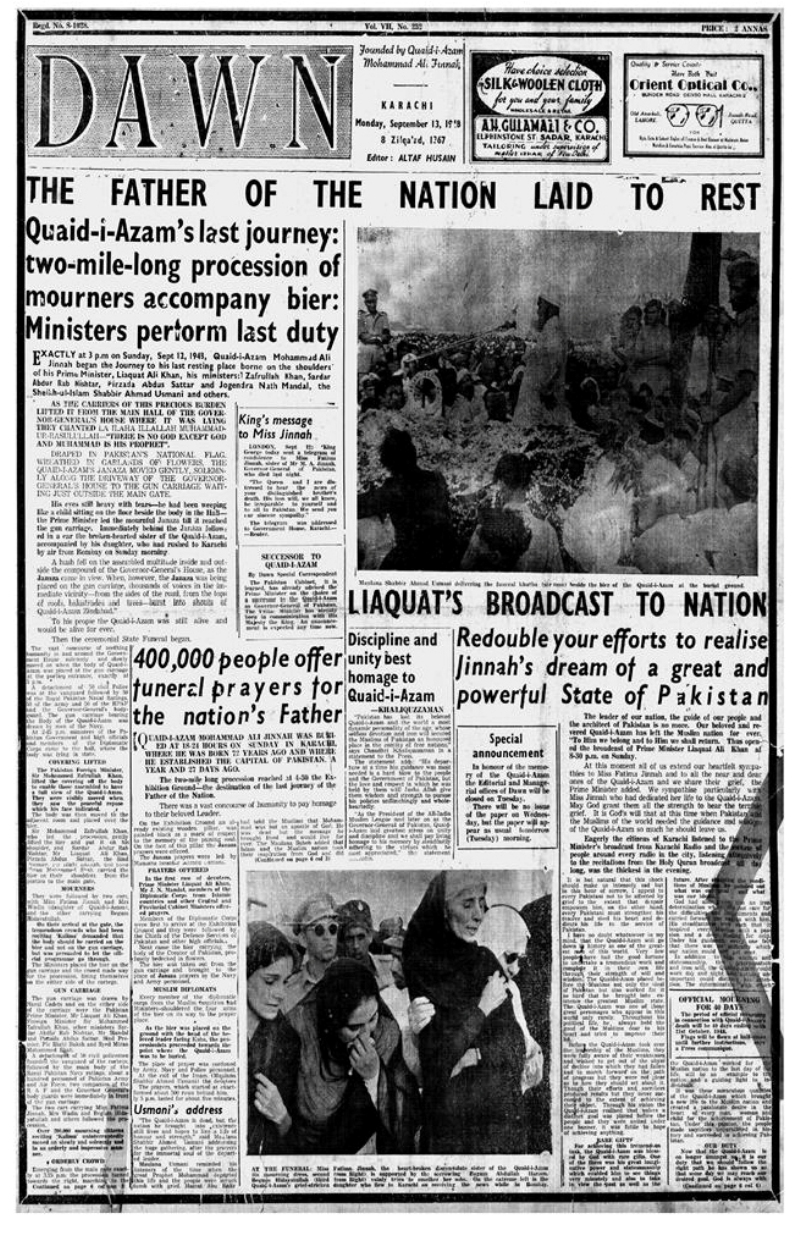In September 1948, Pakistan's founder, Muhammad Ali Jinnah, passed away.
