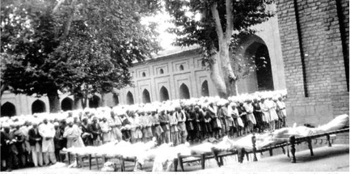 Funeral prayers being held for those killed during the 1931 riots in Srinagar. The Muslim majority of J&K had risen up against the rule of Maharaja Hari Singh. The protests were brutally squashed.