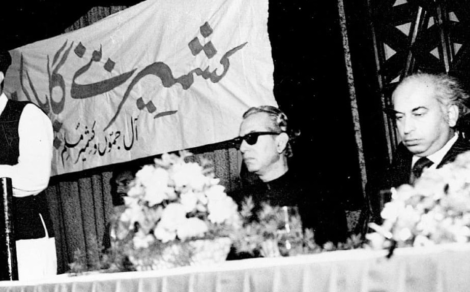 PM Bhutto at a Kashmir seminar.