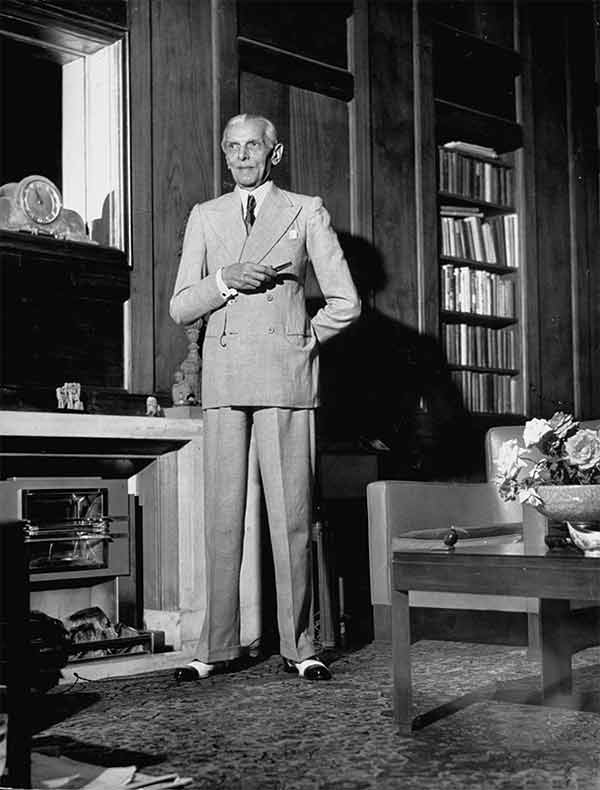 The founder of Pakistan, Muhammad Ali Jinnah in a suit.