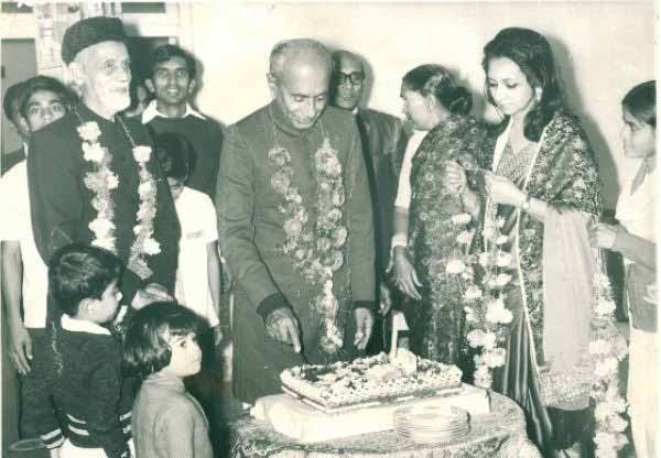 GM Syed cutting his birthday cake in the 1970s.