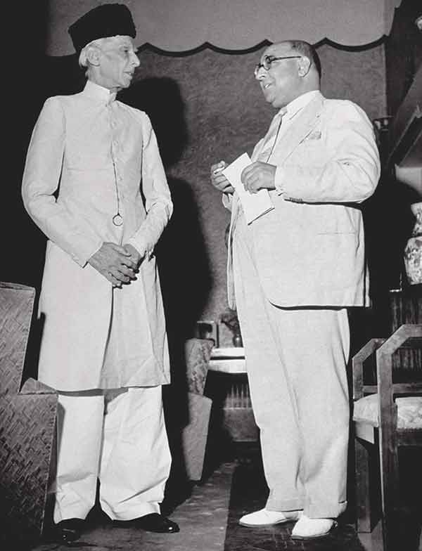 The founder in a shirvanee with Pakistan's first PM Liaquat Ali Khan in a suit.