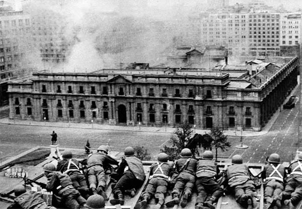 The 1973 US-backed military coup in Chile.