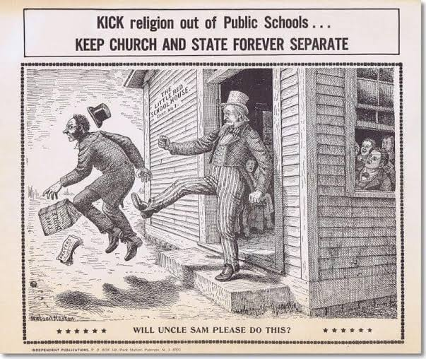 One of main planks of secularism in the US has always been to keep religion away from the public school system.